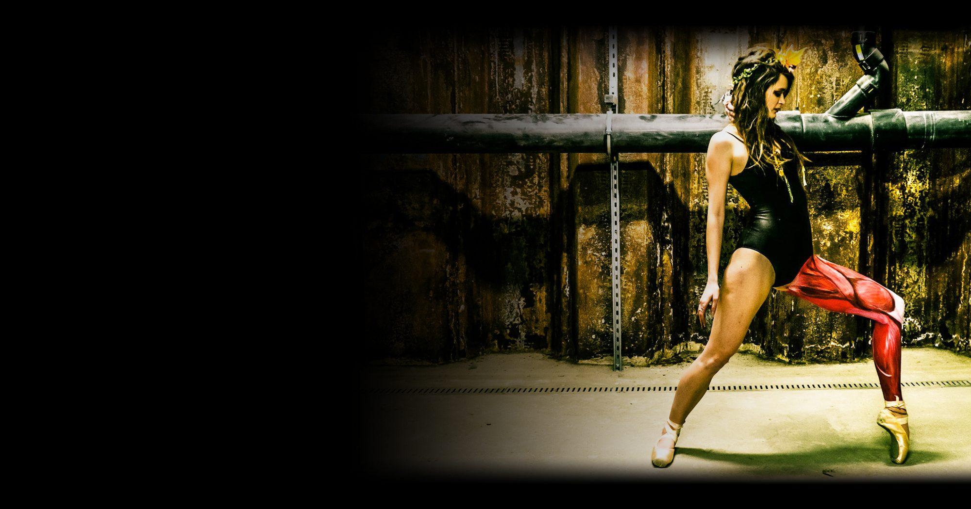 Ballet dancer model with bodypainted leg muscles