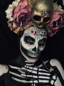 Skull-tress Halloween makeup with custom headdress.